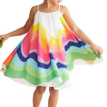 New              Girls Summer Rainbow Printed Sleeveless Casual Dress