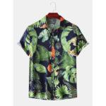 New              Men Fashion Plant Leaves Print Turn Down Collar Hawaii Beach Short Sleeve Shirts