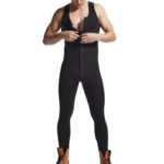 New              Men Cotton Letter Print Solid Color Sleeveless Full Length Jumpsuit Casual Home Onesies Sleepwear