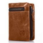 New              Men Genuine Leather Vinatge Retro Wallet Zipper Coin Bag