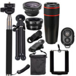 New              All in 1 Camera Lens Kit 8X_12X Telescope Fisheye Wide Angle Macro Telephoto Lens with Tripod Selfie Stick for Vlog Travel Outdoor