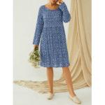 New              Plus Size Polka Dot Pleated A-line Long Sleeve Casual Dress