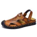 New              Men Genuine Leather Hand Stitching Dual-use Summer Sandals