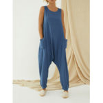 New              Back Zipper Sleeveless O-neck Loose Casual Solid Harem Jumpsuits For Women
