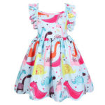 New              Summer Clothing Cartoon Dinosaur Printed Cotton Sleeveless Girls Dress