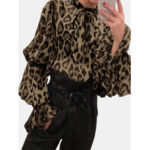 New              Leopard Print Chiffon Bow-knot Tie Shrink Sleeve Blouse