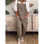 New              Women Solid Color Adjustable Straps Casual Jumpsuit
