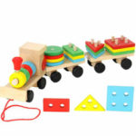 New              1 Piece Wooden Toys Vehicle Puzzles Train Educational Kids Baby Wooden Solid Wood Stacking Train Toddler Puzzle for Children