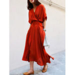 New              Women Solid Color Tie Waist Short Sleeve Casual Maxi Dress