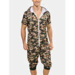 New              Men Fashion Camouflage Short Sleeve Hooded Zipper Casual Jumpsuit Sleepwear