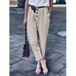 New              Pure Color Button Loose Cotton Casual Harem Pants