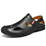 New              Men's Leather Casual Breathable Foldable Thick Bottom Outdoor Non-slip Beach Shoes