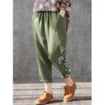 New              Flowers Print Elastic Waist Plus Size Casual Pants For Women