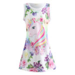 New              Unicorn Flora Print Sleeveless Girls Dress