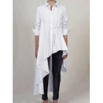 New              Button Irregular Hem Solid Color Casual Blouse