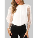 New              Polka Dot Lace Patchwork Puff Sleeve O-Neck Blouse