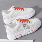 New              Women Casual Letter Tape Lace Up Comfy Chunky Sneakers