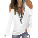 New              Women Halter Solid Color V-Neck Flare Sleeve Fashion Blouse