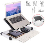 New              40*26cm Enlarge Foldable with Cooling Fan Hole Aluminum Laptop Computer Desk Table TV Bed Computer Mackbook Desktop Holder