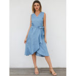 New              Women Casual V-neck Sleeveless A-line Midi Dress With Belt
