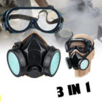New              3 in 1 Double-can Dustproof Goggles with Elevator Industrial 90 Safety Protectives Face Mask