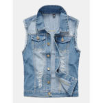 New              Mens Fashion Denim Double Pockets Turn Down Collar Casual Vest
