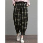 New              Women Plaid Print Elastic Waist Loose Trousers Casual Pants