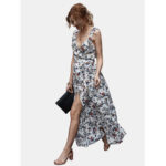 New              Backless Side Split Bohemian Floral Print Sleeveless Dress