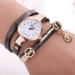 New              DUOYA Fashion Diamand PU Leather Strap Women Bracelet Watch