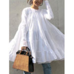 New              Solid Color O-neck Long Sleeve Pleated Loose Casual Blouse For Women