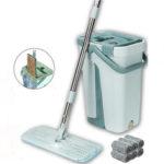 New              Flat Bucket Mops 360° Rotatable Fine Fiber Cleanner Free Hand Spin Washing Ultrafine Magic Floor Mop