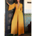 New              Solid Color V-neck Long Sleeve Wide Leg Casual Jumpsuits Overalls For Women