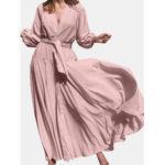 New              V-Neck High Waist Long Sleeve Elegant Maxi Dress