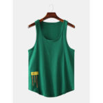 New              Men Casual Letter Print Solid Color Crew Neck Sleeveless Tank Tops