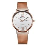 New              SOXY Fashion Style Women Wrist Watch Ladies Dress Simple Dial Rose Gold Stainless Steel Strap Quartz Watch