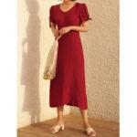 New              Women Elegant Vintage Cotton Puff sleeve Bow-knot Dress