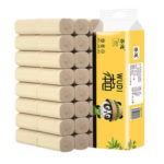 New              WUDI 18 Rolls Strong Water Absorption Natural Soft Household Bamboo Pulp Toilet Paper Tissue Natural Pulp Paper Rolls