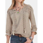 New              Lace Patchwork V-neck Hollow Solid Casual Blouse