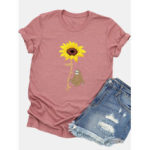 New              Women Casual Cartoon Sunflower Printed Short Sleeve O-neck T-Shirt