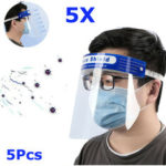 New              5Pcs Transparent Adjustable Full Face Shield Plastic Anti-fog Anti-spit Protective Mask