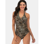 New              Leopard Halter Backless Lace-up One-Pieces Swimwear For Women