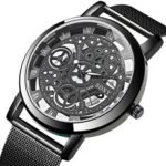 New              SOXY Fashion Creative Hollow Dial Stainless Steel Strap Men Quartz Watch
