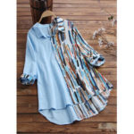 New              Striped Graffiti Hit Color Patchwork Shirts Turn-down Collar Casual Blouse