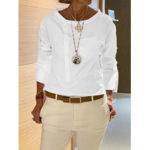 New              Women Stand Collar Long Sleeve Oblique Placket Casual Blouse