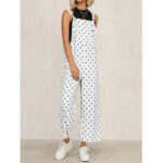 New              Casual Polka Dot Adjustable Strap Loose Wide Leg Jumpsuit with Pockets