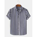 New              Men Stripe Turn Down Collar Hawaii Casual Short Sleeve Shirts