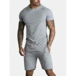 New              Men Sport Short Sleeve Sewing Stripes Pocket Shorts Solid Color Two Pieces TrackSuit