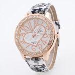 New              Fashion Casual Love Flower Pattern Diamond PU Leather Strap Women Quartz Watch Wristwatch