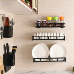 New              Kitchen Plate Racks Stainless Steel Shelf Dishes Bowl Spice Storage Wall Mounted Storage Shelves