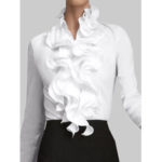 New              Women Ruffles Collar Solid Color Long Sleeve Wild Blouse